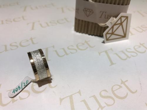 anillo de mujer cinta en plata y bordes en oro 10 klt. tuset