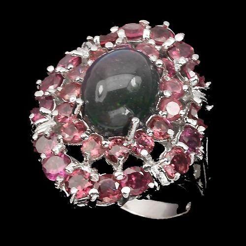 anillo de opalo negro autraliano  y rubi naturales av12
