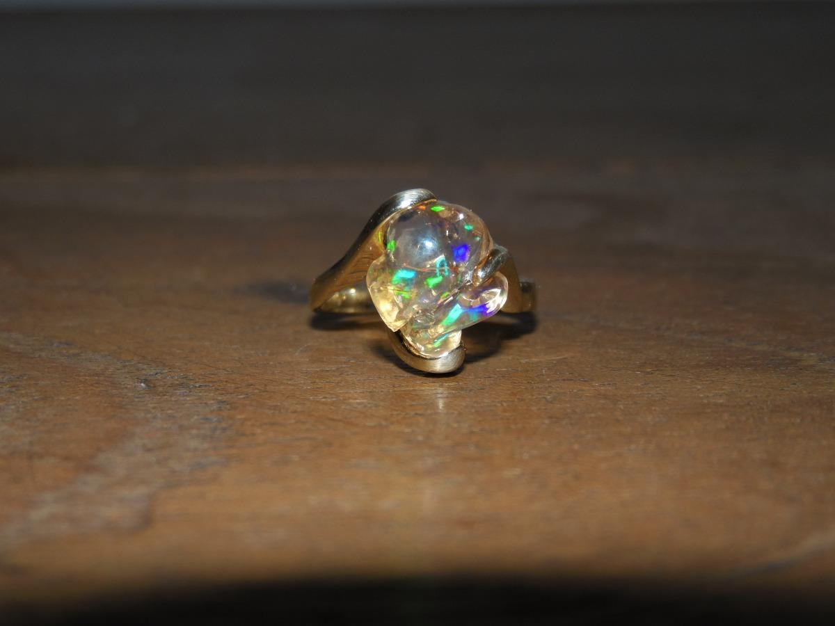 fa3b6c70f8bf anillo de oro 14k amarillo solido con ópalo de fuego. Cargando zoom.