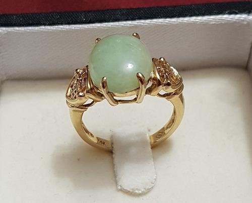 anillo de oro 14k con piedra de jade. nuevo