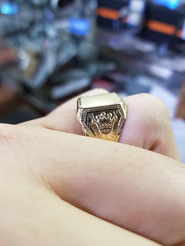 anillo de oro 18 klts sello con corona, para grabar