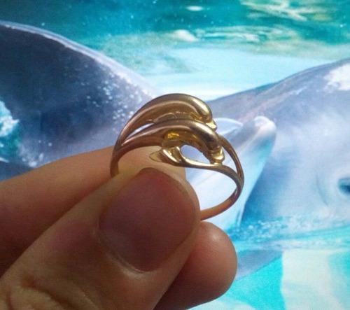 anillo de oro 18k con diseño original pareja de delfines