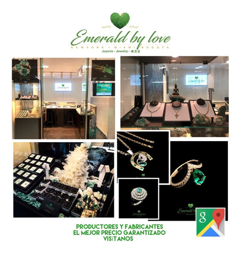 anillo de oro 18k con esmeralda natural y diamantes