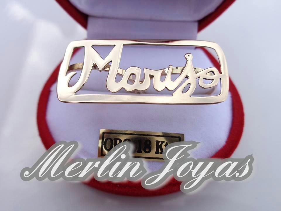 Anillo De Oro 18k Nombre Con Marco Calado - 6 Gramos - M. J. ...