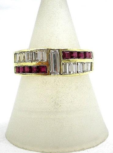 anillo de oro 18kt brillantes carre y rubies naturales