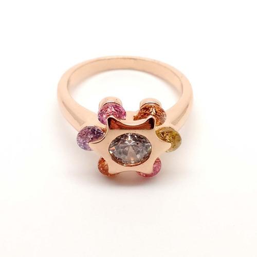 anillo de oro laminado 14k flor con circonias de colores 7.5