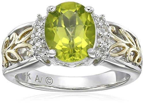 anillo de peridoto y topacio blanco de oro amarillo y plata