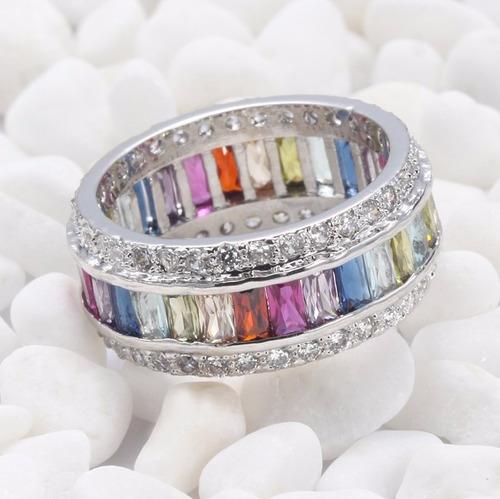 anillo de piedras de colores plata 925 tamano chico
