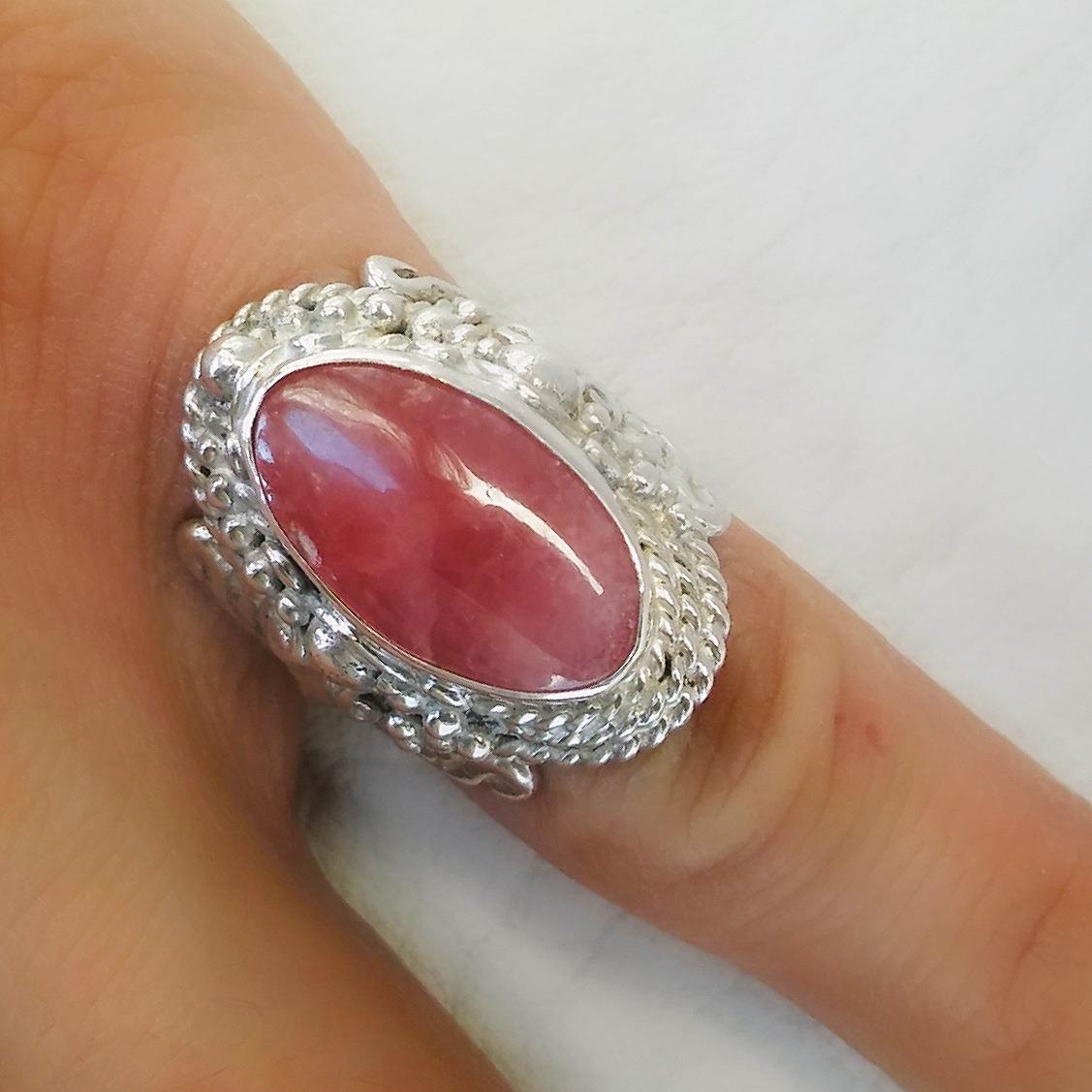 92cf97932fb3 anillo de plata 925 con piedra rodocrosita pieza única. Cargando zoom.