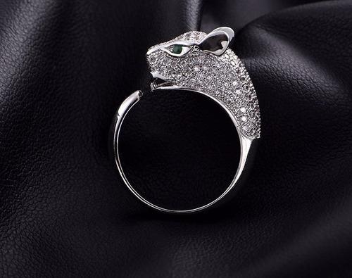 anillo de plata .925 jaguar incrustaciones circonio