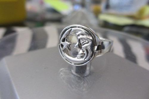 anillo de plata 925 modelo  la luna y su estrella
