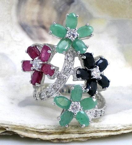 anillo de plata 925-oro esmeraldas rubies goldantiques