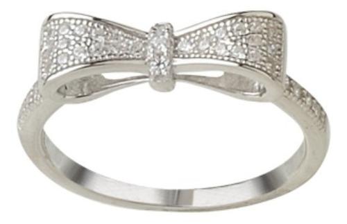 anillo de plata 925 rodinada moño con cubics modelo 10256