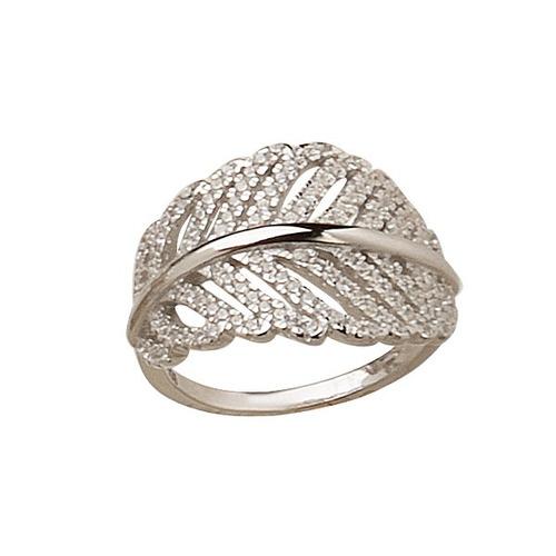 anillo de plata 925 rodinada y cubic hojas mod. 10299