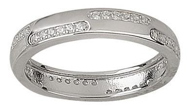 anillo de plata 925 rodinada y cubic modelo 10253