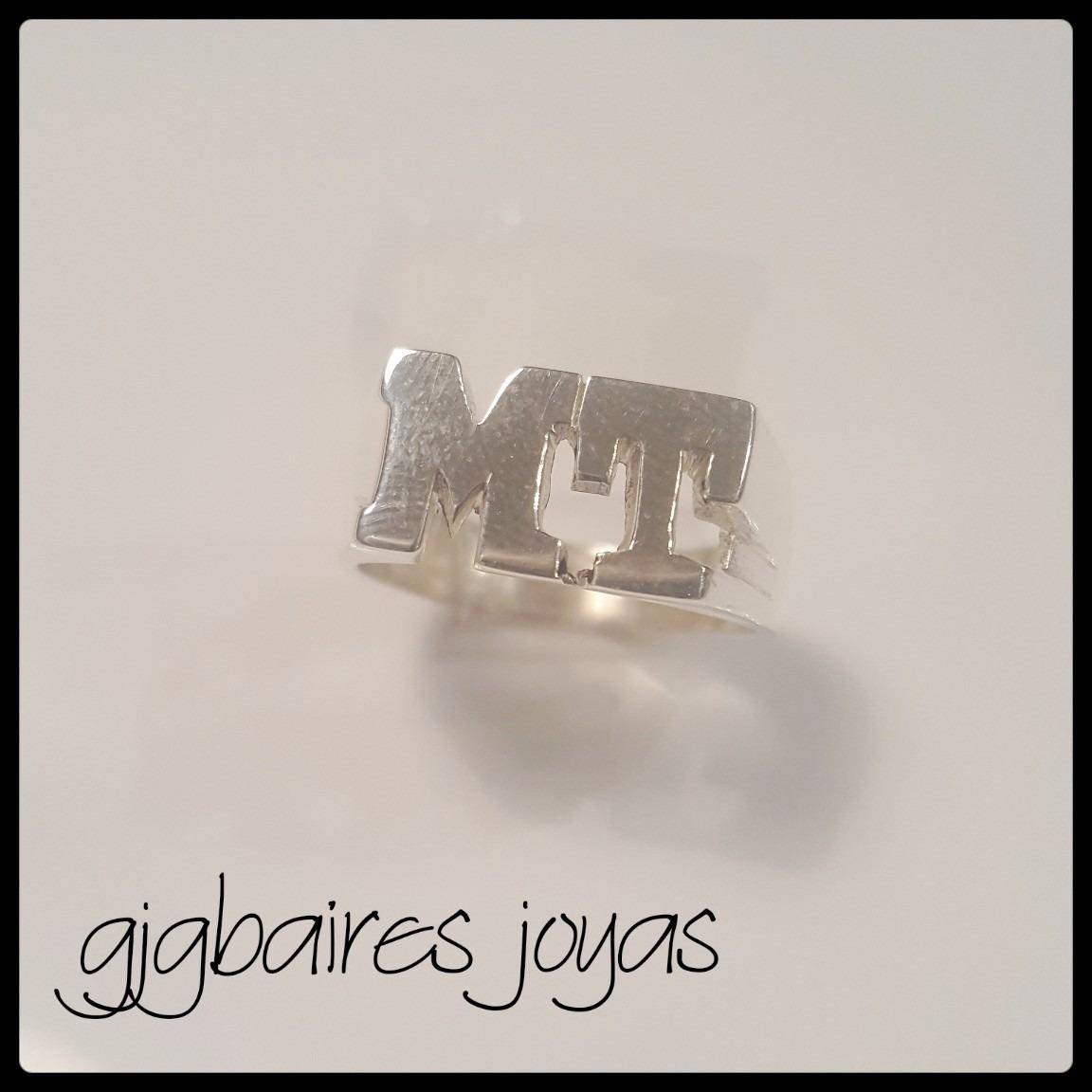 4c6824abce5c anillo de plata 925 sello macizo letras caladas. Cargando zoom.