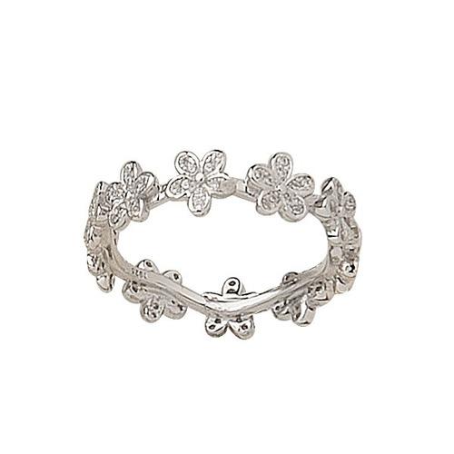 anillo de plata 925 y cubic sin fin de flores modelo 10297