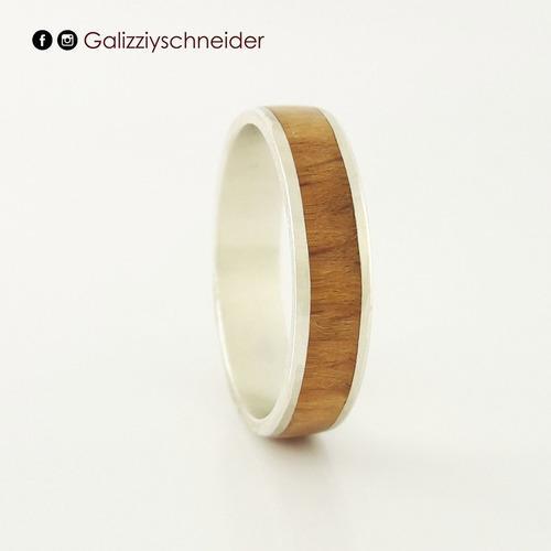 anillo de plata 925 y madera de haya 5mm