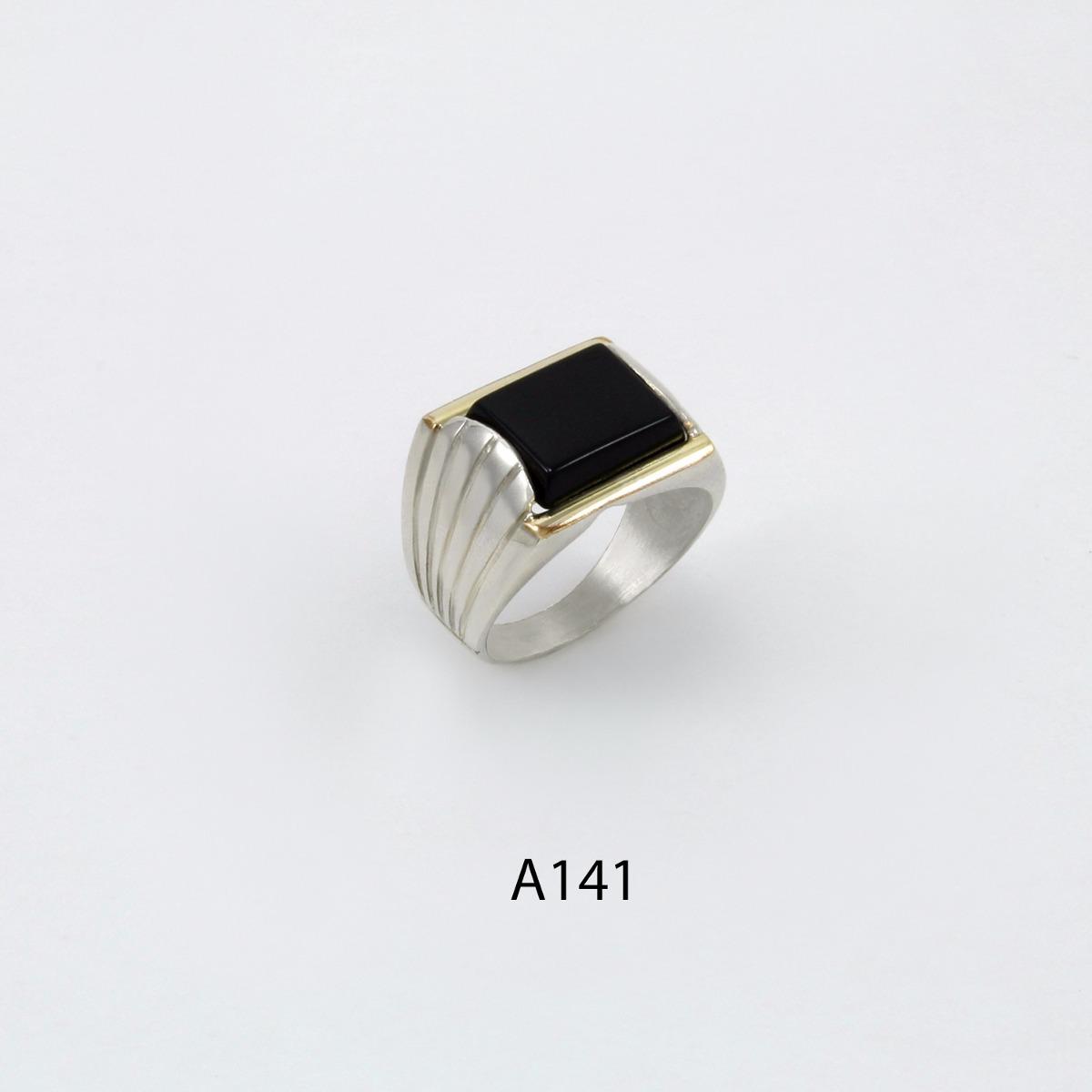 55545732dc53 anillo de plata 925 y oro codigo a141 piedra negra. Cargando zoom.