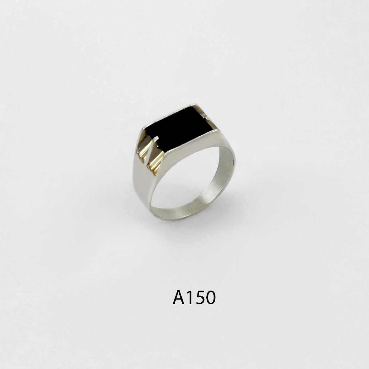 c702bdc6e287 anillo de plata 925 y oro codigo a150 piedra negra. Cargando zoom.