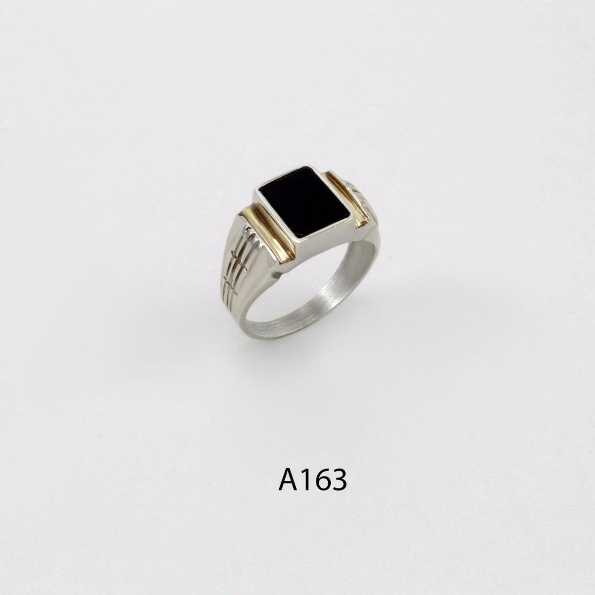 c8fc46785014 anillo de plata 925 y oro codigo a163 piedra negra. Cargando zoom.