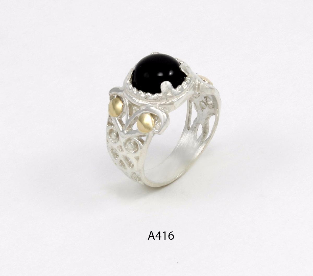 bc9d4ae7d2c9 anillo de plata 925 y oro codigo a416 piedra negra. Cargando zoom.