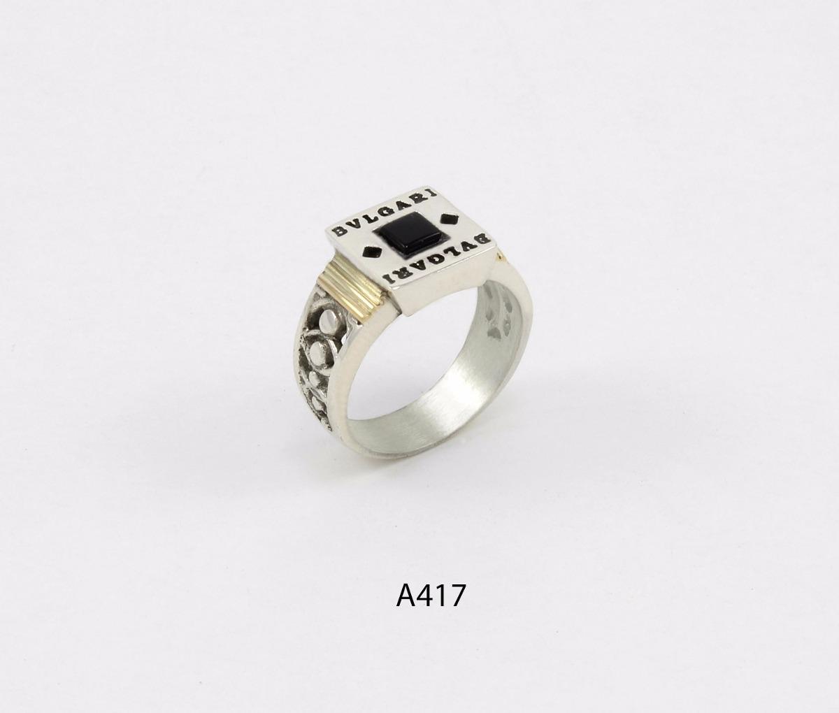 08a68772540f anillo de plata 925 y oro codigo a417 piedra negra. Cargando zoom.