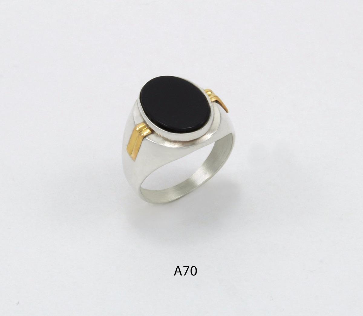9c271d7d64c4 anillo de plata 925 y oro codigo a70 piedra negra. Cargando zoom.