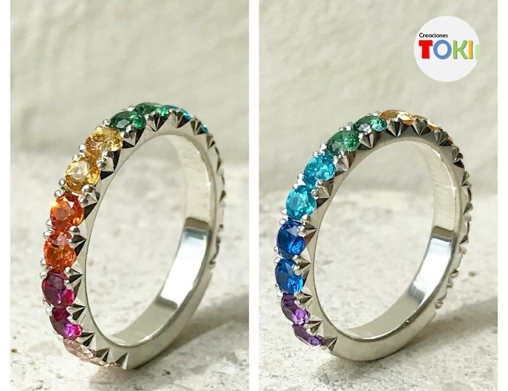 53f258bbf4d5 anillo de plata 950 con zircones de colores. Cargando zoom.