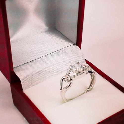 anillo de plata  950  de compromiso con cristales