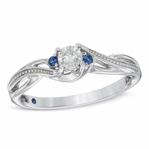 anillo de plata de promesa con chispa de diamante y zafiros