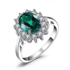 anillo de plata fina 925 maciza circon verde . a77.