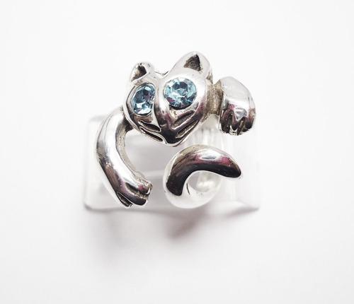 anillo de plata , hermoso anillo de gato en plata ley.925