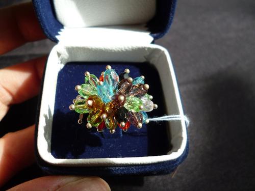 anillo de plata importado piedras multicolor talla 5