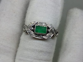 918b9a24c2d2 Anillo De Plata Paladio Con Esmeralda Y Diamantes Naturales