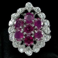 anillo de plata rubies y zafiros naturales