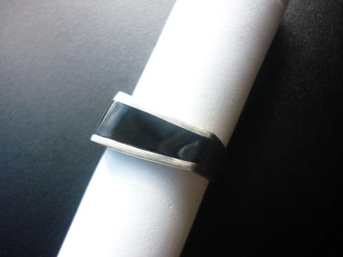 anillo de plata - unisex - negro