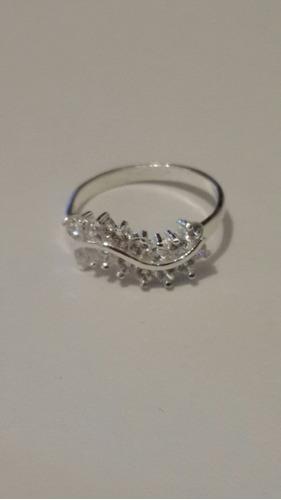 anillo de plata y cristales talla 3 con estuche y envio grat