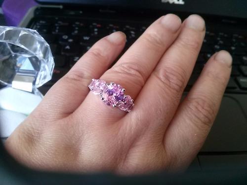 anillo de plata,piedra zafiro color rosado n°20 de anillo