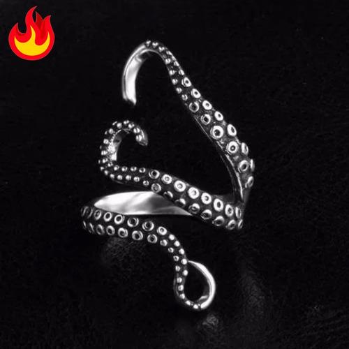 anillo de pulpo ajustable unisex acero inoxidable