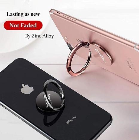 anillo de teléfono celular metal 2 anillos oro rosa y negro