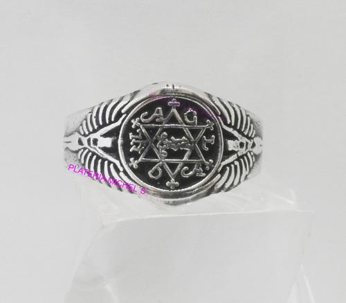 anillo del rey salomon en plata solida ley 0.925