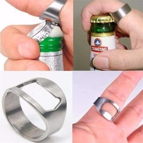 anillo destapador de botellas cervezas acero inoxidable