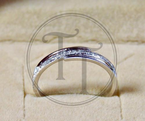anillo diamantado hecho en plata esterlina 925 # 7