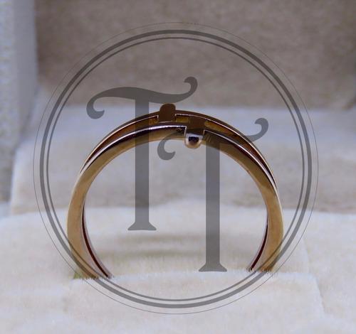 anillo doble cruz hecho en titanio rosa 18k # 7