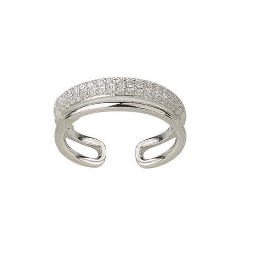 anillo doble de plata 925 rodinada y cubic modelo 10257