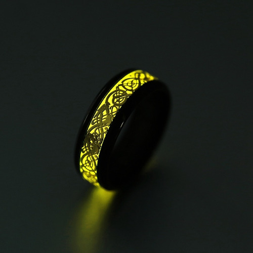 anillo dragón brilla en la oscuridad fluorescente hombre