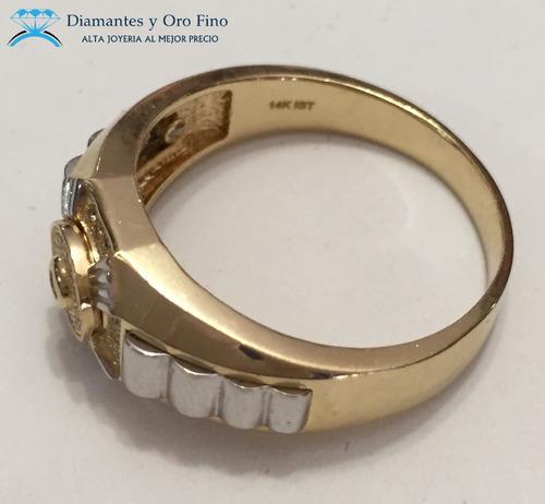 anillo egipcio central en oro amarillo de 14 k con .13 ct
