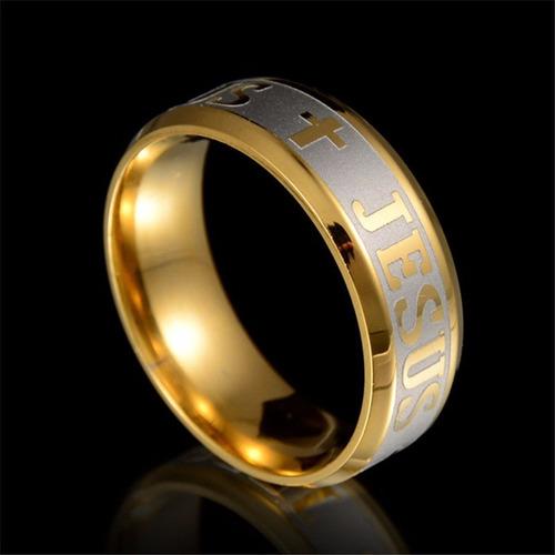 anillo en acero inoxidable titanio color oro hombre y mujer