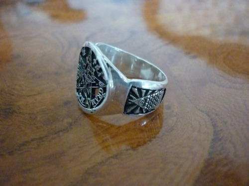 anillo en pentagrama masonico en plata ley